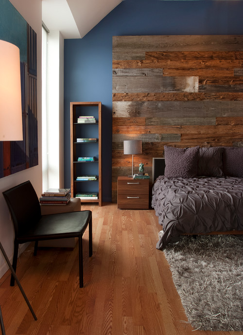 Modern Country Bedroom with Partial Wood Wall