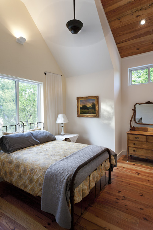 Reclaimed Barn Wood Floor in Traditional Bedroom