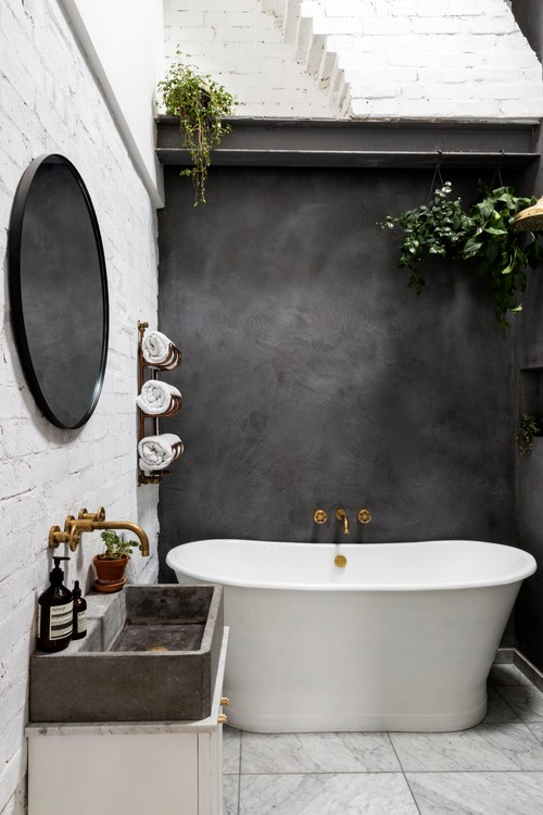 Renovated Historic London Bathroom with Concrete Sink
