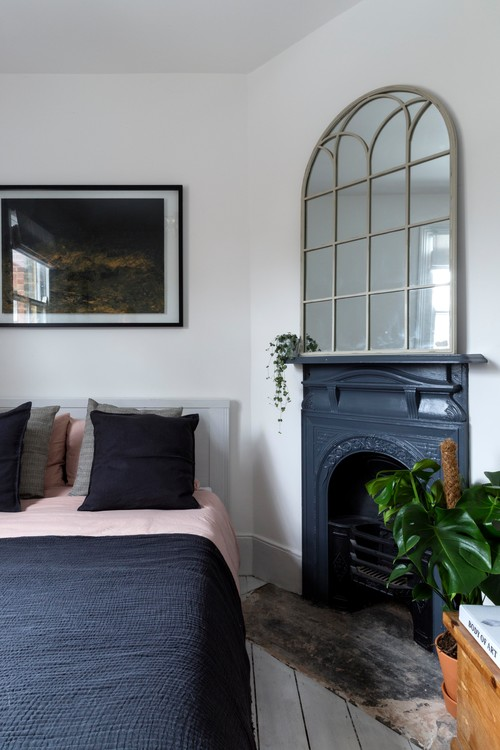 Brick Cottage Bedroom with Fireplace in London