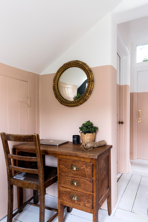 Desk in Hallway with Two-Toned Walls