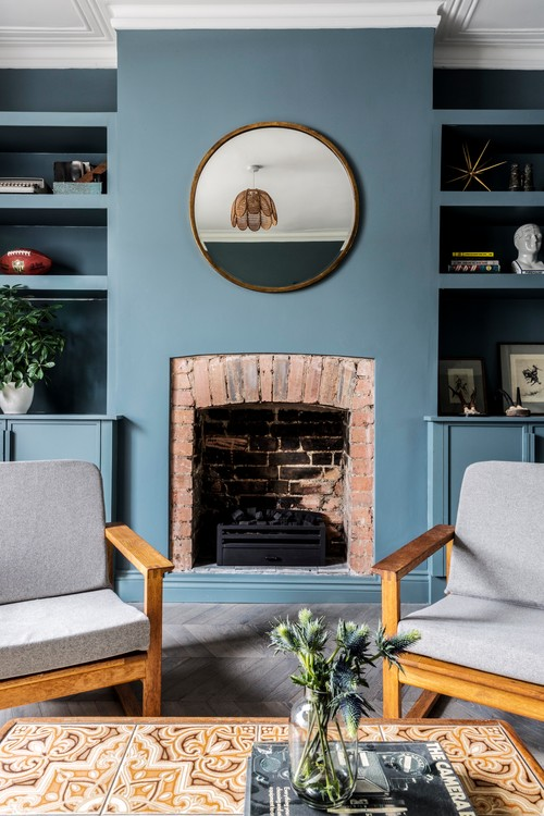 London Brick Cottage Living Room with Fireplace