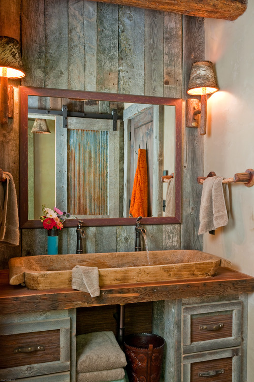 Rustic Bathroom With Reclaimed Wood Wall