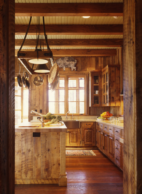 Rustic Kitchen with Reclaimed Wood Cabinets