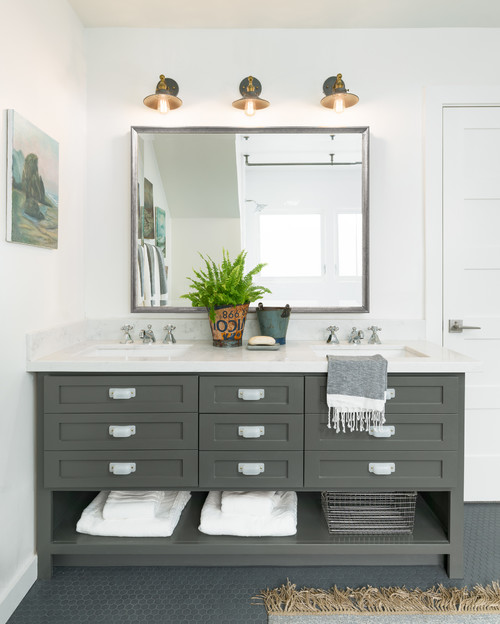 White and Gray Bathroom with Large Double Sink Vanity