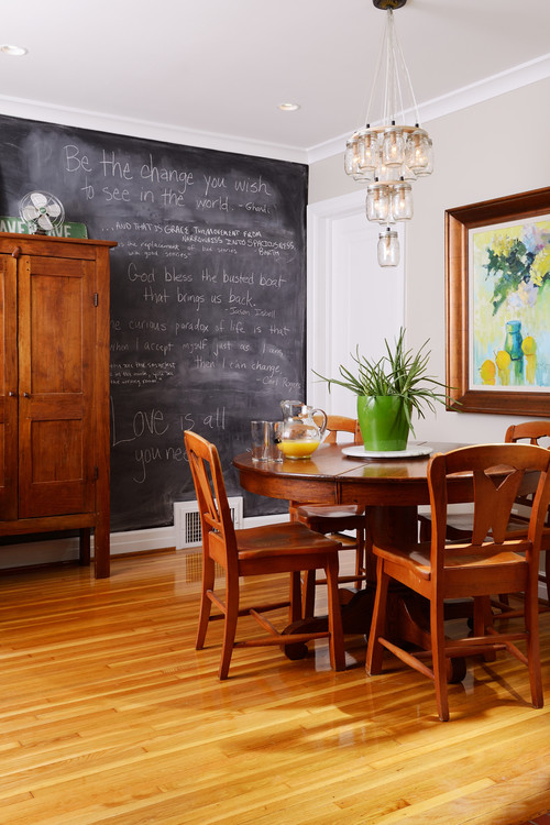 Country Style Dining Room with Chalkboard Wall and Mason Jar Chandelier