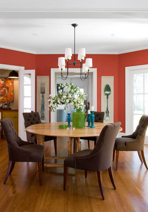 Traditional Red Dining Room with Round Table