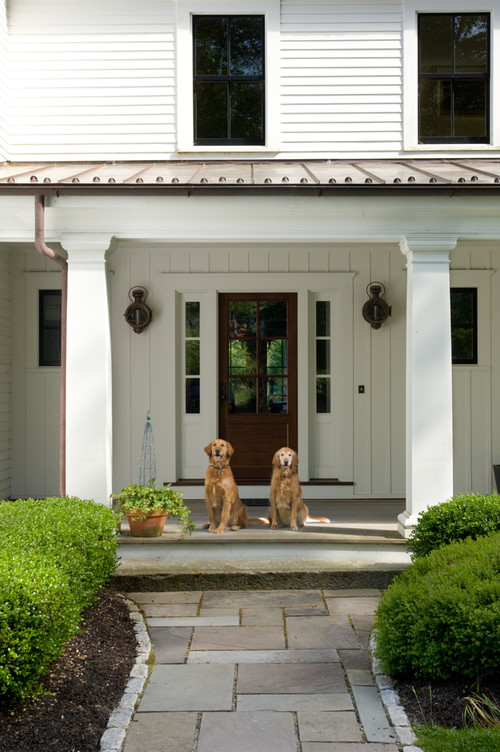 Traditional Entry with Pillars on Maine Modern Farmhouse