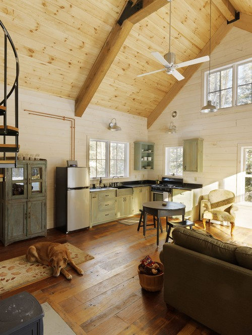 Rustic Kitchen with Reclaimed Barn Wood Floor