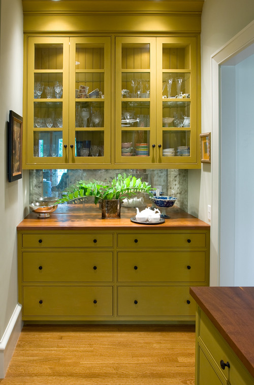Butler's Pantry with Colorful Cabinetry