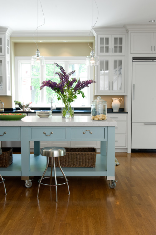 White Modern Farmhouse Kitchen with Light Blue Kitchen Island