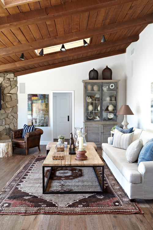 Country Living Room with Wood Vaulted Ceiling