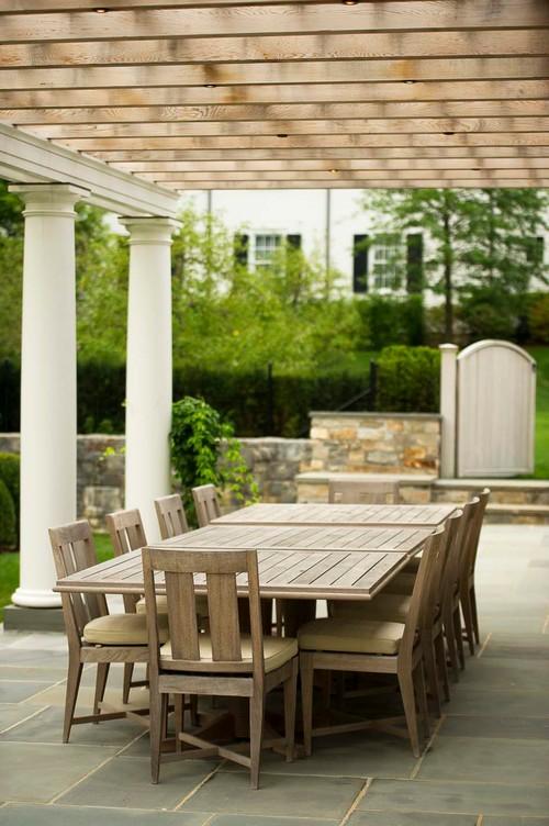 Outdoor Dining Under Elegant Pergola