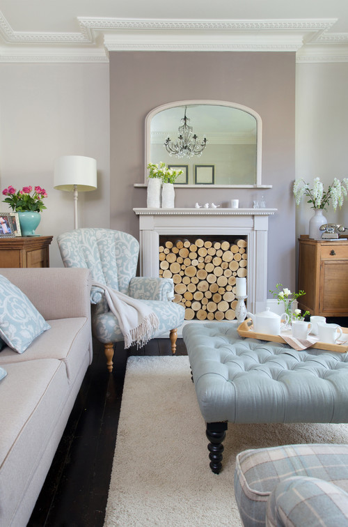 Victorian Living Room in Pale Pastels