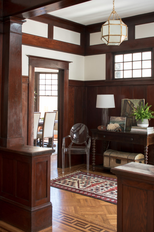 Craftsman Style Den with Natural Woodwork