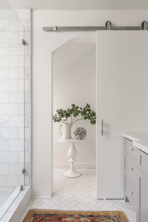 White and Gray Bathroom with Walk-In Shower