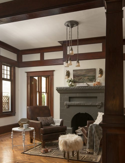 Craftsman Living Room with Vintage Fireplace and Leather Furniture