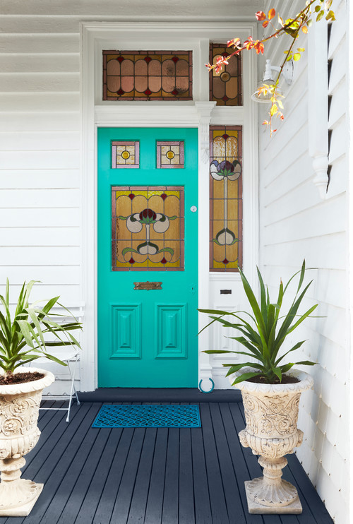 Merveilleux Aqua Victorian Front Door With Stained Glass