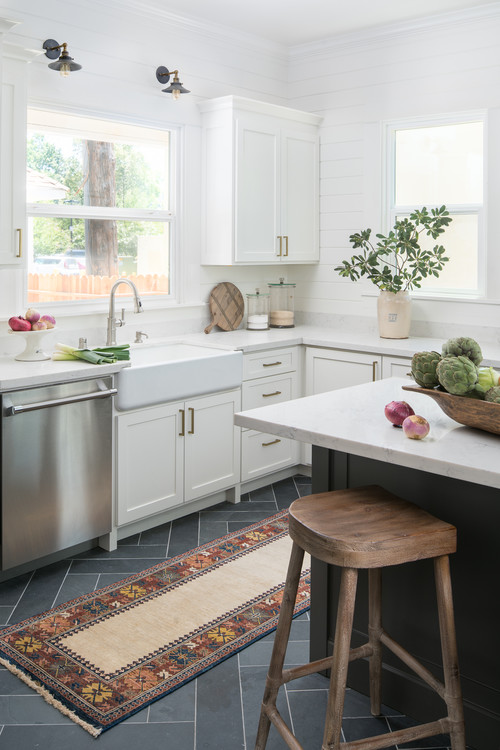 White and Gray Kitchen with Large Island