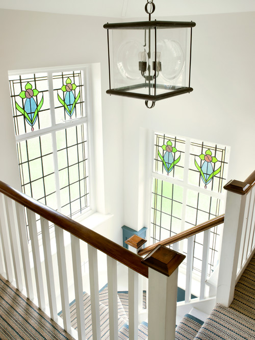 Victorian Staircase with Leaded Glass