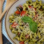 Basil Pesto Cavatappi with Mushrooms and Tomatoes