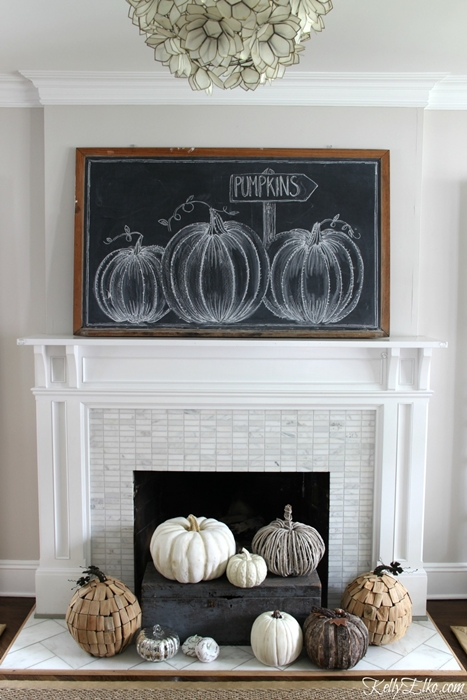 Chalkboard Pumpkin Artwork Fall Mantel by Eclectically Vintage