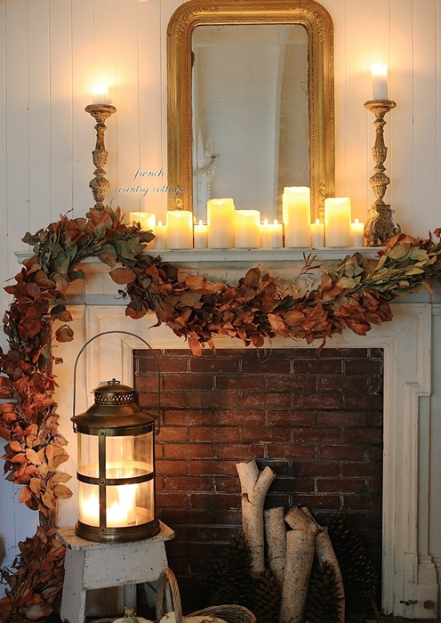 Warm and Cozy Natural Fall Mantel by French Country Cottage