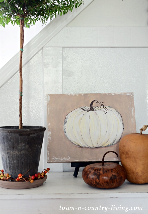 Fall Vignette on Farmhouse Console Table