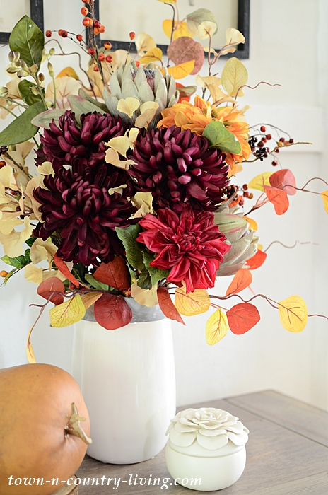Faux Fall Flower Arrangement