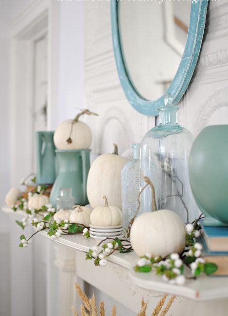 Fall Mantel Ideas. Art deco pottery and baby boo pumpkins