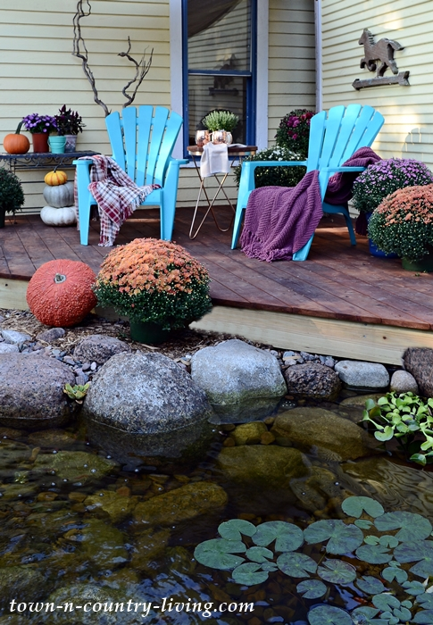 Outdoor Fall Decorations by the Deck and Pond