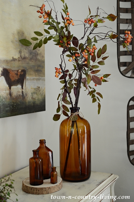 Vintage Brown Bottles for Fall Decorating