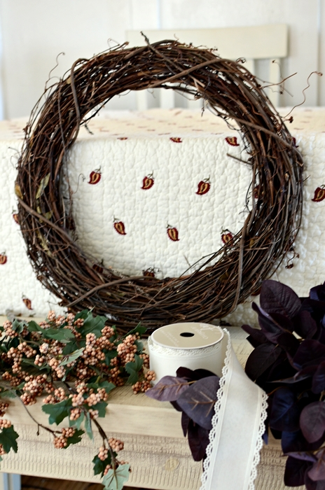 Supplies to Make Fall Berries Grapevine Wreath