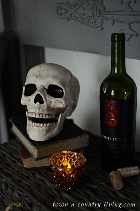 Skull and Wine Halloween Vignette