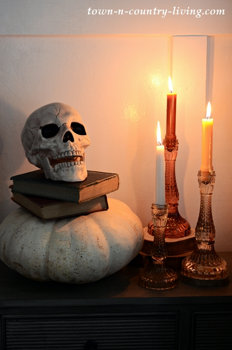 Skull and Candles Halloween Vignette