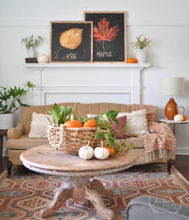 Custom Artwork Fall Mantel by Jennifer Rizzo