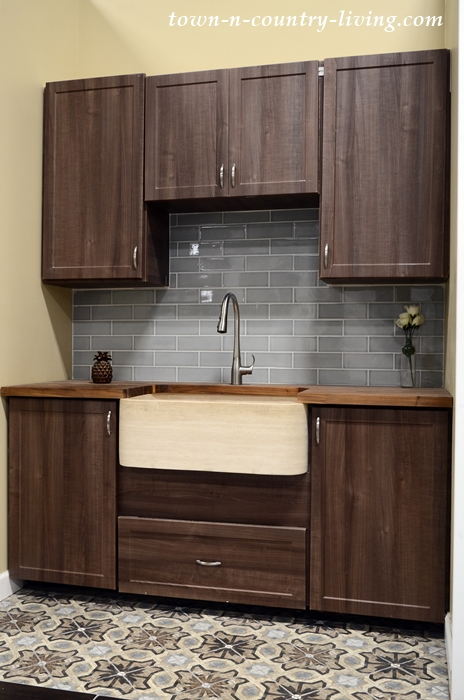 Kitchen Display with Farmhouse Sink and Subway Tile