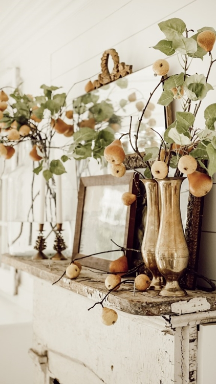 Vintage Natural Fall Mantel by Liz Marie Blog