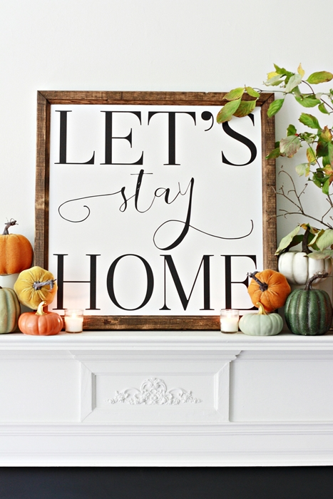 Printable Artwork on Fall Mantel by Nest of Posies