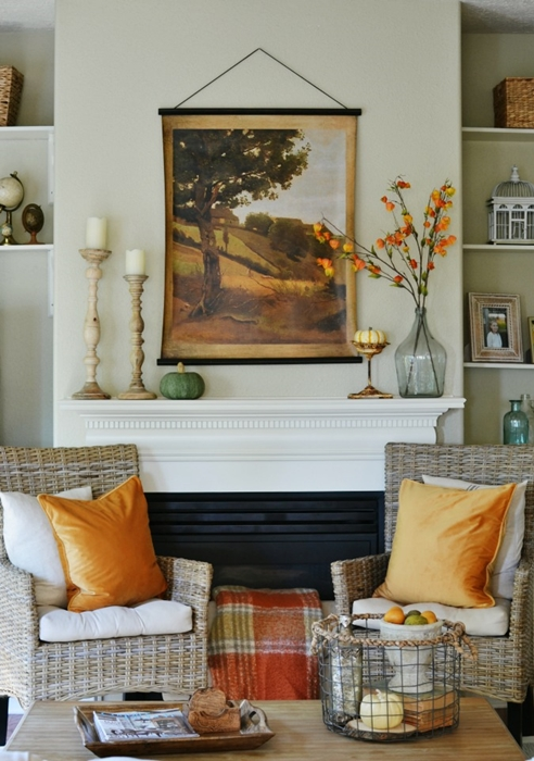 Country Neutral Fall Mantel by At the Picket Fence