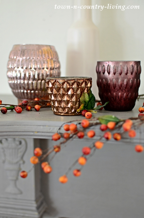 Pottery Barn Candle Holders for Vintage Fall Mantel