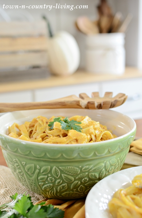 Pumpkin Fettuccine Alfredo in a Green Mason Cash Bowl