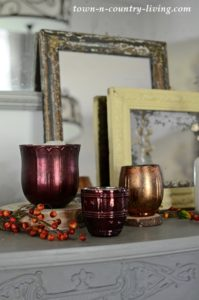 Pottery Barn Inspired Fall Mantel in Burgundy and Gray