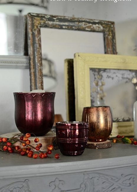 Pottery Barn Inspired Fall Mantel in Rich Tones
