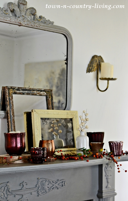 Fall Mantel with Candle Holders from Pottery Barn