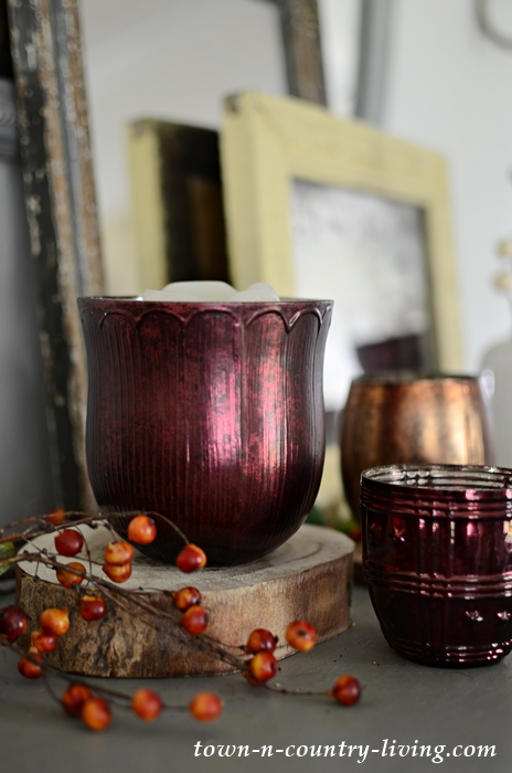 Burgundy Votive Candle Holder on Vintage Fall Mantel