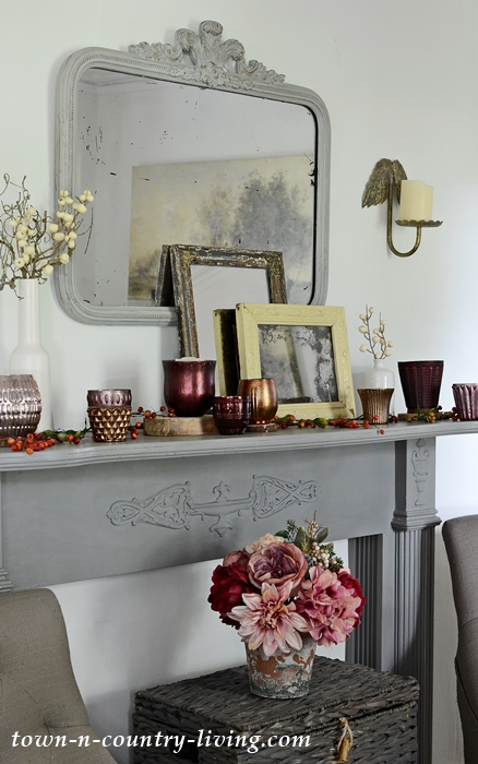 Vintage Fall Mantel in Gray and Burgundy
