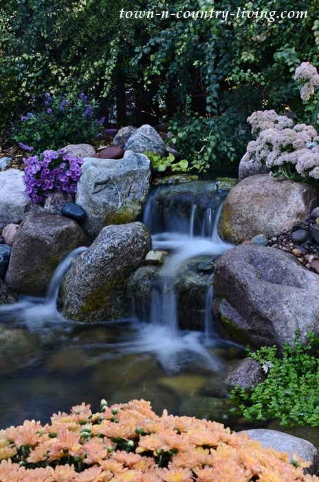 Backyard Waterfall in Garden Pond