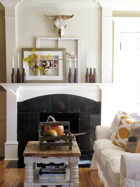 Modern Country Fall Mantel by The Wicker House