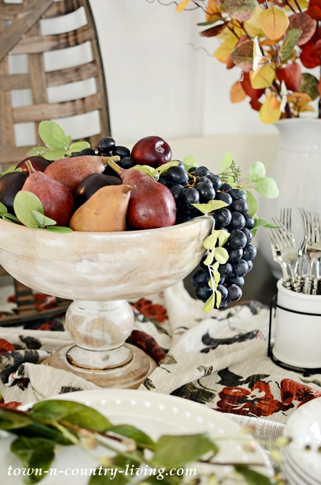 Fall Fruit in Wooden Pedestal Bowl